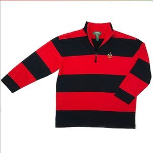 Lauren Ralph Lauren Petite 1/4 Zip Striped Sweater